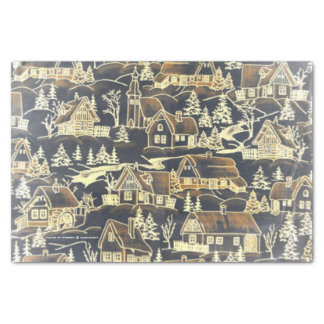 Vintage Old Gold Merry Christmas Holiday Village Tissue Paper