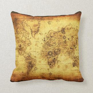 Vintage Old Gold World Map Decor Cushion