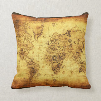 Vintage Old Gold World Map Decor Cushion Throw Pillow