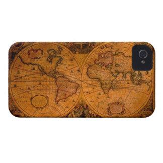 Vintage Old Gold World Map iPhone 4 Case