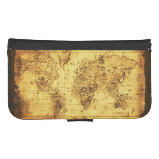 Vintage Old Gold World Map Galaxy S4 Wallet Cases
