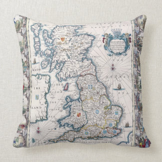 Vintage Old Great Britain Map Decor Cushion