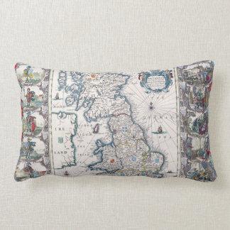 Vintage Old Great Britain Map Decor Cushion Throw Pillows