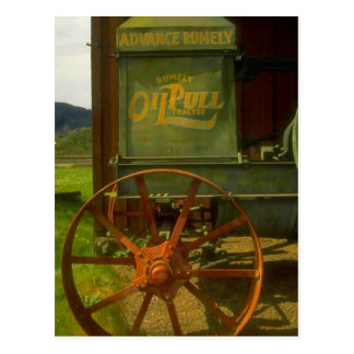 VINTAGE OLD GREEN TRACTOR RUMELY OILPULL POSTCARD