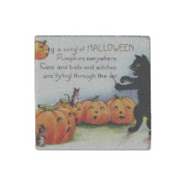 Vintage Old Halloween Cute Scary Stone Magnet