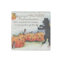 Vintage Old Halloween Funny Spooky Stone Magnet