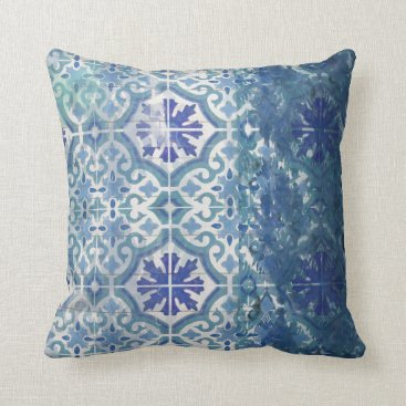 Beach Themed Vintage Old Havana White Aqua Ocean Blue Beach Sea Throw Pillow