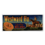 Vintage Old Ho Cantaloupe Fruit Crate Labels Poster