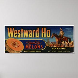 Vintage Old Ho Cantaloupe Fruit Crate Labels Poster