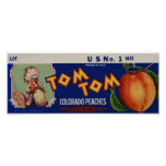 Vintage Old Indian Peaches Fruit Crate Labels Poster