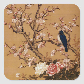 Vintage Old Japanese Painting of A Bird On A Tree Square Sticker