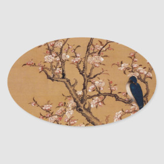 Vintage Old Japanese Painting of A Bird On Trees Oval Sticker