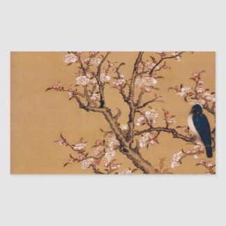 Vintage Old Japanese Painting of A Bird On Trees Rectangular Sticker