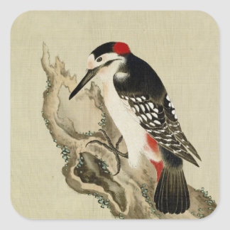 Vintage Old Japanese Painting of A Little Bird Square Sticker