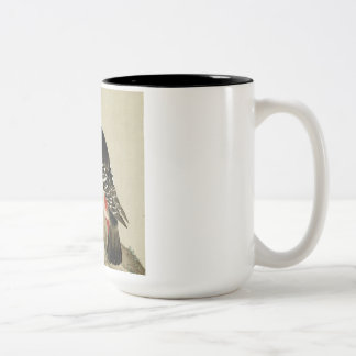 Vintage Old Japanese Painting of A Little Bird Two-Tone Coffee Mug