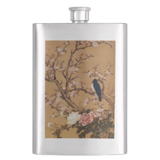 Vintage Old Japanese Painting of A Wild Bird Hip Flask