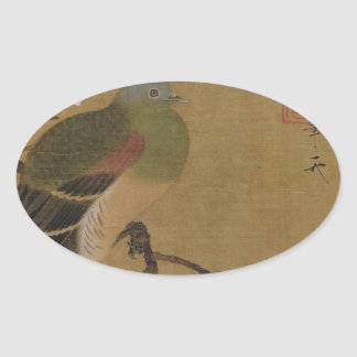 Vintage Old Japanese Painting of A Wild Bird Oval Sticker