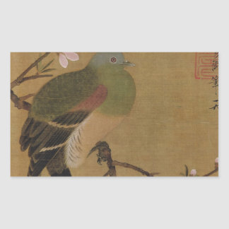 Vintage Old Japanese Painting of A Wild Bird Rectangular Sticker