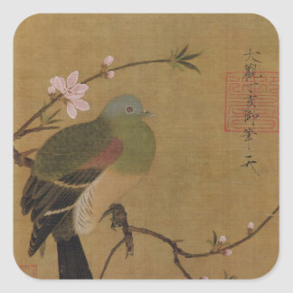 Vintage Old Japanese Painting of A Wild Bird Square Sticker