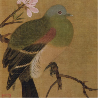 Vintage Old Japanese Painting of A Wild Bird Statuette