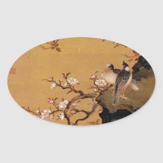 Vintage Old Japanese Painting of Two Birds Oval Sticker