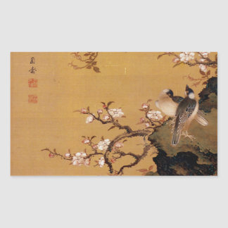 Vintage Old Japanese Painting of Two Birds Rectangular Sticker