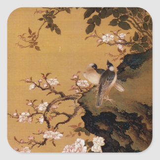 Vintage Old Japanese Painting of Two Birds Square Sticker