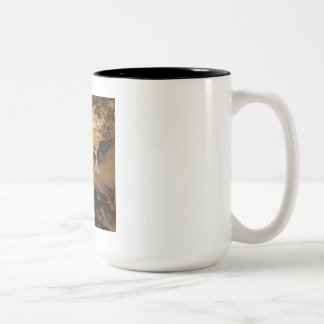 Vintage Old Japanese Painting of Two Birds Two-Tone Coffee Mug