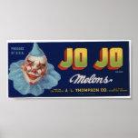 Vintage Old Jo Jo Clown Melons Fruit Crate Labels Poster