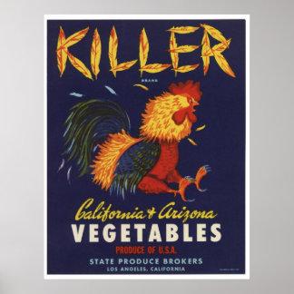 Vintage Old Killer Chicken Vegetables Crate Labels Poster