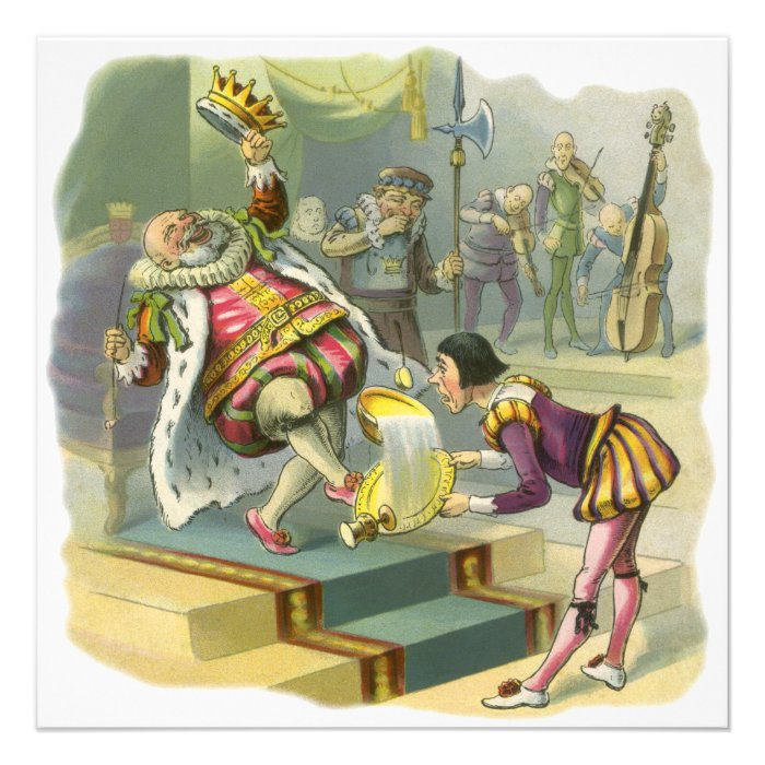 Vintage Old King Cole Nursery Rhyme Fairy Tale Announcement