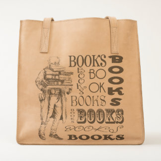 Vintage Old Man Carrying Books Tote