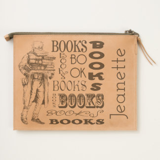 Vintage Old Man Carrying Books Travel Pouch