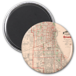 Vintage Old Map of Chicago - 1893 2 Inch Round Magnet