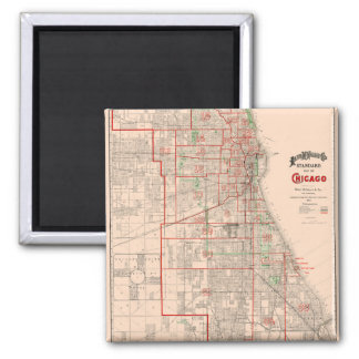 Vintage Old Map of Chicago - 1893 2 Inch Square Magnet