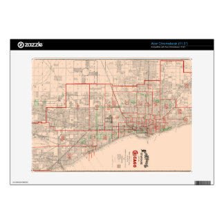Vintage Old Map of Chicago - 1893 Acer Chromebook Decals