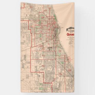 Vintage Old Map of Chicago - 1893 Banner