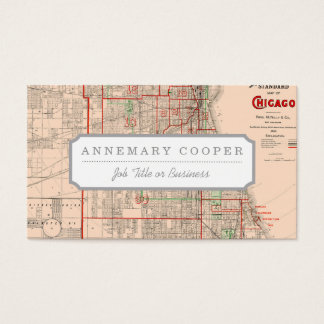 Vintage Old Map of Chicago - 1893 Business Card