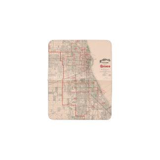 Vintage Old Map of Chicago - 1893 Business Card Holder