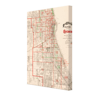 Vintage Old Map of Chicago - 1893 Canvas Print