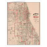 Vintage Old Map of Chicago - 1893 Card
