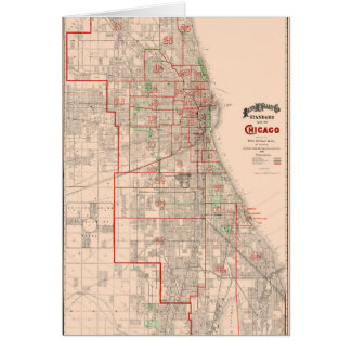 Vintage Old Map of Chicago - 1893 Card
