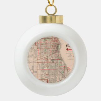 Vintage Old Map of Chicago - 1893 Ceramic Ball Christmas Ornament