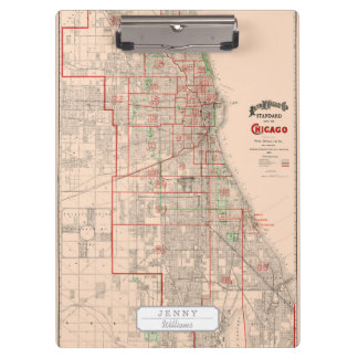 Vintage Old Map of Chicago - 1893 Clipboard