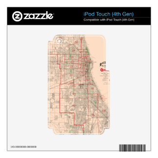 Vintage Old Map of Chicago - 1893 Decal For iPod Touch 4G