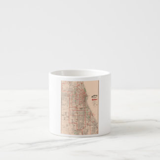 Vintage Old Map of Chicago - 1893 Espresso Cup