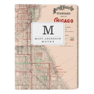 Vintage Old Map of Chicago - 1893 Extra Large Moleskine Notebook