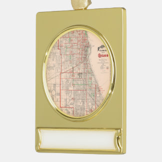 Vintage Old Map of Chicago - 1893 Gold Plated Banner Ornament