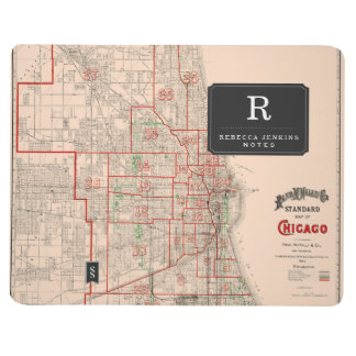 Vintage Old Map of Chicago - 1893 Journal