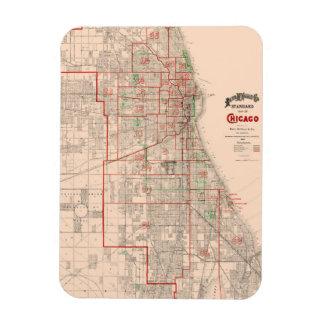 Vintage Old Map of Chicago - 1893 Magnet